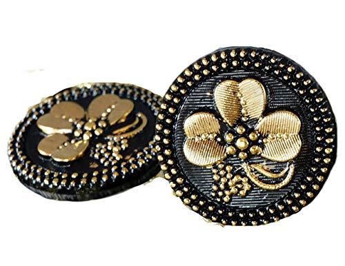 1pc Handmade Czech Glass Button Large Gold Shamrock St Patrick Day Flower Black Luck Trefoil Size 12, 27mm