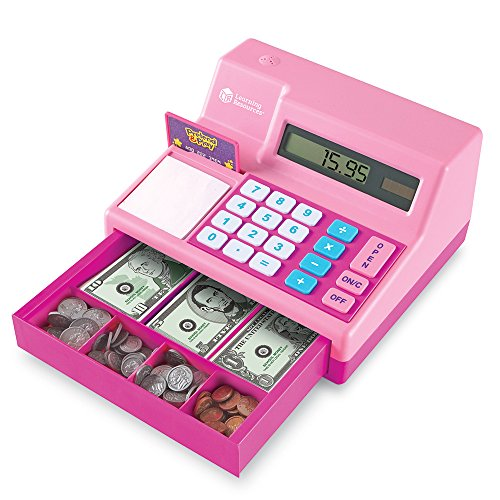 Learning Resources Pretend & Play Calculator Cash Register, 73 Pieces, Pink