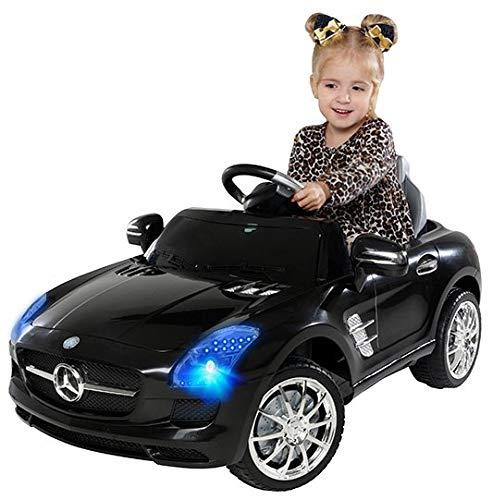Actionbikes Motors Kinder Elektroauto Mercedes Benz AMG SLS - Lizenziert - Rc 2,4 Ghz Fernbedienung - Led - Mp3 - Soundmodul - Elektro Auto für Kinder ab 3 Jahre - Kinderauto Spielzeug (Schwarz)