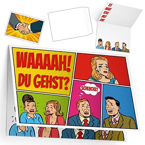 A4 XXL Abschiedskarte KOLLEGEN ABSCHIED mit Umschlag - lustige Klappkarte zur Rente Pension Jobwechsel Mutterschutz Ruhestand Karte von BREITENWERK