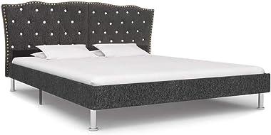 vidaXL Bed Frame Upholstered Bedroom Base Furniture Bed Headboard Sleeping Comfort Platform 137x187cm Double Size Fabric Wood