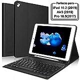 KVAGO Teclado iPad 10.2 2019,Funda con Teclado (Diseño Español Incluye Ñ) Bluetooth Inalámbrico para iPad 2019 10.2/iPad Air 3 2019/iPad 10.5 Pro,Negro