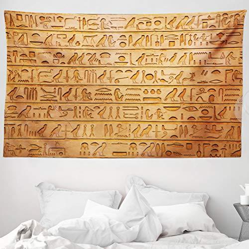 ABAKUHAUS Egipto Tapiz de Pared y Cubrecama Suave, Composición de Jeroglíficos, Decoración para el Cuarto, 230 x 140 cm, Anaranjado Pálido Ámbar
