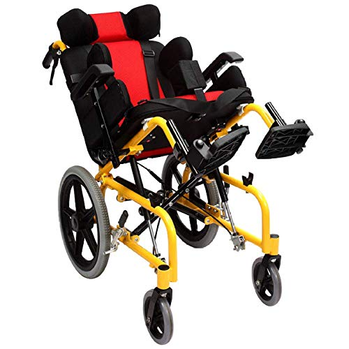 Y-L Creative Seniors Aluminium High Back Rolstoel, Multi-Functionele gehandicapte kind Comfortabele Handleiding Rolstoel, Met hoofdsteun, Correctie van de houding van het meisje Transport stoel/Rood / 97X80Cm, Rood, 97