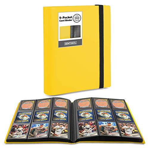 Sentinol Pokemon Card Binder with Sleeves Hold 360 Cards, Trading Card Album, Heavyweight Sleeves for Pokemon, Magic Card, Baseball Cards, Yugioh(Yellow, 1 Pack)