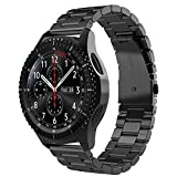 Simpeak Cinturino Compatibile per Samsung Gear S3/S3 Frontier/Galaxy Watch 3 45mm/Classic/Galaxy Watch 46mm Galaxy Watch Active 40mm Banda in Acciaio Inossidabile 22mm,Fibbia di Metallo, Ne