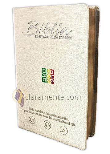 Diario Bíblico Impreso y Digital, Encuentro con Dios con QR, Reina-Valera Contemporánea, imitacion piel beige perlada