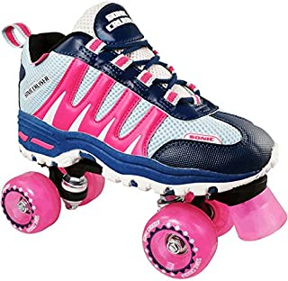 Roller Skates for Adults and Kids | Sonic Cruiser Unisex Quad Roller Skates with Sneaker Shoe Style for Indoor/Outdoor Skating (Pink)