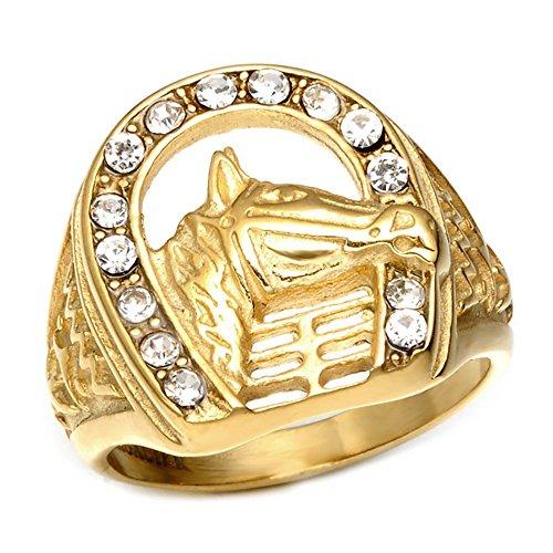 BOBIJOO JEWELRY - Anello con Sigillo Testa a Ferro di Cavallo Camargue Gypsy Elvis Acciaio Dorato Strass Placcato Oro - 29 (13 US), d'oro - Acciaio Inossidabile 316
