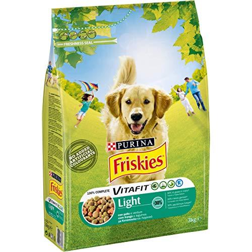 Purina Friskies Crocchette Cane Vitafit Light con Pollo e Verdure, 4 sacchi da 3 kg ciascuno