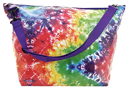 iscream Sequin Rainbow Tie Dye Holographic 23.5' x 16' Weekender Travel Tote Bag with Adjustable Strap