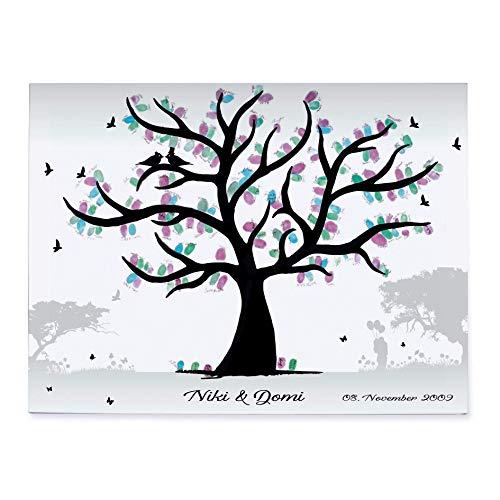 Hochzeitsbaum SAVANNE auf Leinwand Gästebuch Wedding Tree weddingtree individuell personalisiert 30x20 / 40x30 / 60x40 / 80x60 cm