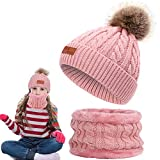 1 Set Winter Kinder Strickmütze Schal Set mit 1 Beanie Mütze mit Fur Bobbles + 1 Round Loop Scarf Ideal für Mädchen und Jungen für den Winter