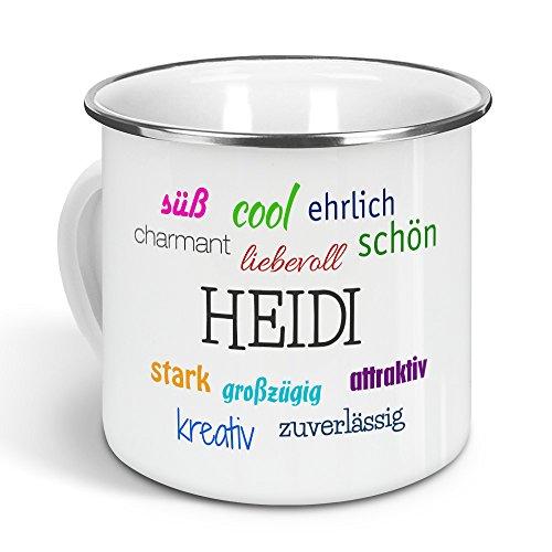 printplanet - Emaille-Tasse mit Namen Heidi - Metallbecher mit Design Positive Eigenschaften - Nostalgie-Becher, Camping-Tasse, Blechtasse, Farbe Silber, 300ml