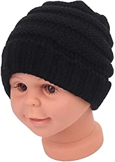 1PCS Black Winter Knitted Beanie Skull Hats Warm Fleece Lined Beanie Hats Knit Thick Ski Cap Headwear for Boys and Girls S...