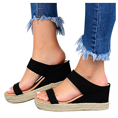 Womens Wedge Heel Sandals Verano Abre Toe Casual No Slip Transpirable Interior Al Aire Libre Slip-On Casual Beach Wedges Diapositivas,Negro,39