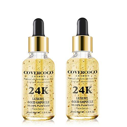 Luxury 24k Gold Ampoule Serum, 24k Gold Serum Facial, Hidratante Facial Aclarar Color de Piel Antiarrugas Aligerar Líneas Finas Suero Natural Y Orgánico Antiarrugas Para Toda la Pie (2 x 30ml)