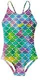 RAISEVERN Süße Baby Girls Coloeful Fish Scale Bedruckte Badebekleidung Ärmellose Badekostüme Einteiliger Badeanzug Bikini Kinder Badebekleidung für Alter 4-5 Jahre Größe M.