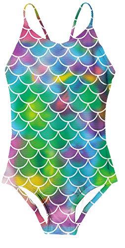 Niños Niñas Traje de baño de una Pieza en Todo Coloridos Patrones de Escamas de Pescado Traje de baño de Sirena Trajes de baño Hawaianos Ligeros de Verano Ropa de Playa para 7-8 años XL