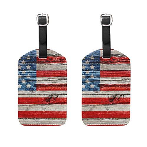WINCAN Etiquetas de Equipaje (variadas,2PK),Antigua Bandera Americana Pintada en la Oscuridad,Etiqueta de Equipaje para Equipaje,Mochilas Etiquetas de Maleta