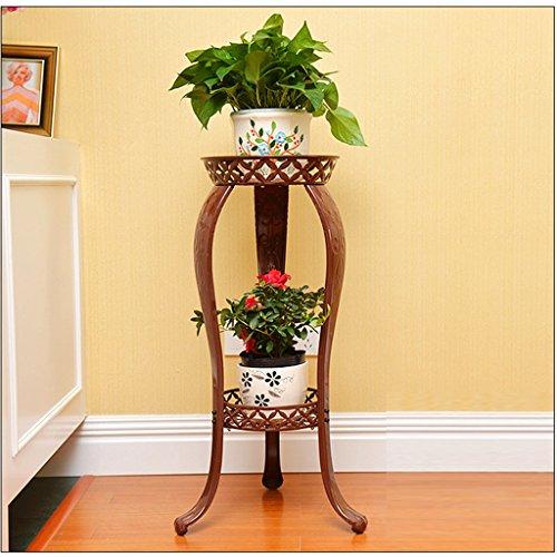 Petit Pot De Fleur Debout Rack Stockage De Fer Stand Jardin Intérieur Extérieur Serre Décoration Affichage 2 Niveaux ( Couleur : Brass )