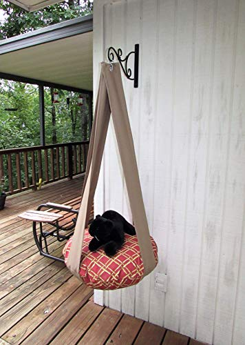 Outdoor Cat Bed Rust & Gold Diamond Bamboo Single Tier Kitty Cloud Cat Bed, Hanging Cat Bed, Catio Furniture, Indoor Outdoor Cat Bed