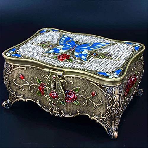 OH Caja de Alenamiento de Joyería Caja de Joyería Vintage Retro Metálico Conjunto de Rosas de Rosa Restauración Antiguas con el Soporte de la Joyería de la Caja de Espejo Moda/Azu