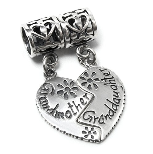 Queenberry Sterling Silver Grandmother Granddaughter Family Daisy Dangle Bead Pendant for European Charm Bracelets