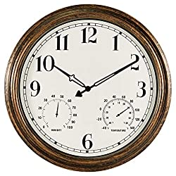 SecreShow 16 Inch Large Indoor Outdoor Wall Clock,Waterproof Non-Ticking Clock with Thermometer and Hygrometer Combo,Battery Operated Clock Wall Decorative-Bronze