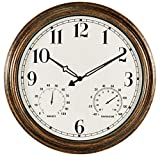 16 Inch Large Indoor Outdoor Wall Clock,Waterproof Non-Ticking Clock with Thermometer and Hygrometer Combo,Battery Operated Clock Wall Decorative-Bronze