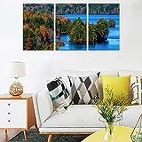 Cuadro de paisaje natural otoño, diseño de bosque azul, sin marco de fotos, 3 piezas, lona, blanco, 30 x 40 cm