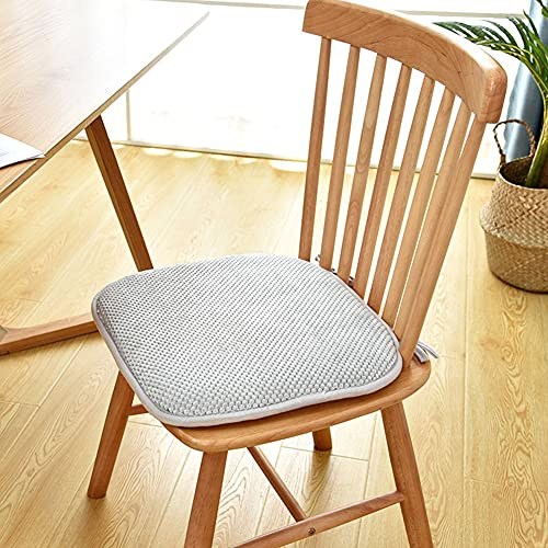 Set of 2 Seat Cushions, Memory Foam Cushions with Ties, Soft and Breathable Chair Cushions for Offices, Living Room, Balconies and Gardens, Grey