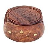 Zap Impex ® Set di 6 sottobicchieri rotondi fatti a mano e supporto decorativo in legno per tazze da tè, tazze da caffè, birra, bar e bicchieri da acqua