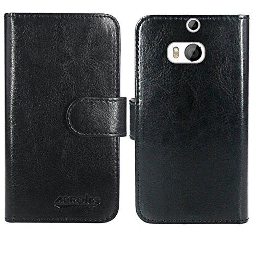 HTC One M8 / M8s Handy Tasche, FoneExpert® Wallet Hülle Flip Cover Hüllen Etui Ledertasche Lederhülle Premium Schutzhülle für HTC One M8 / M8s (Wallet Schwarz)