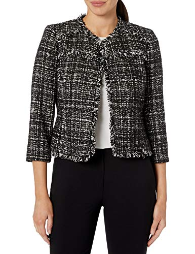 NINE WEST Women's Sequin Tweed Jacket, Black/Multi, 2