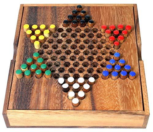 Logica Juegos Art. Damas Chinas - Juego de Mesa de Madera Preciosa - Juego de Estrategia Multijugador - Versión de Viaje