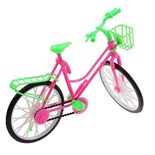 VANKER Accesorios De Muñeca Brillante Bicicleta Rosa Y Verde Bicicleta Con Cesta Para Grande