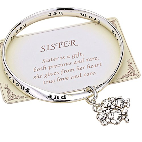 Rosemarie Collections Womens Sister is a Gift Inscription Twist Bangle Bracelet