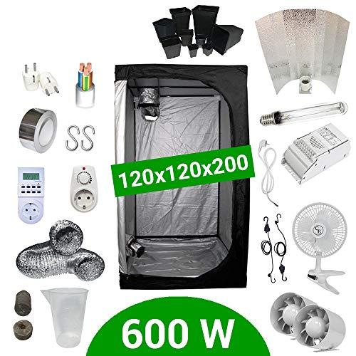 Kit de cultivo interior 600W SHP Stuko - Armario 120x120x200 - Balastro ETI 1