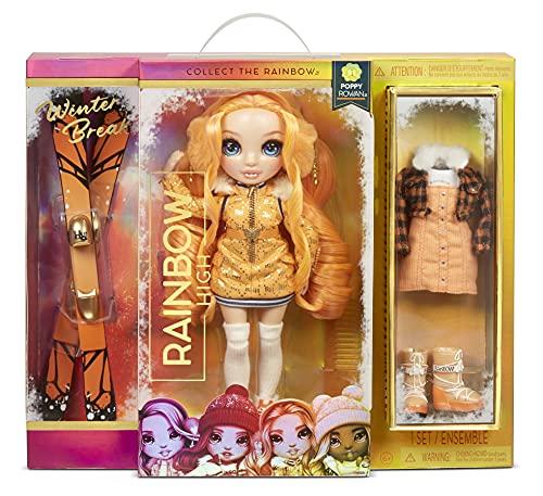 Rainbow High Winter Break POPPY ROWAN - Orangene Modepuppe mit 2 Outfits, Skiausrüstung und Puppenständer - Skier, Schlittschuhe, Accessoires und mehr - Sammelpuppe für Kinder ab 6 Jahren