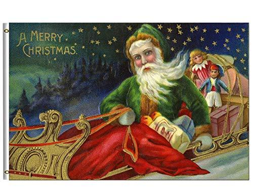 Flagge bedrucken 3x5 Fuß Flagge Happy Winter Holiday Vintage Santa Claus in Sleigh Snow Star Night Garden Yard House Flags Banner mit Messingösen Outdoor Party Home Weihnachtsdekorationen
