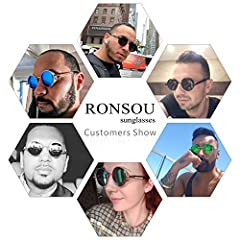 Ronsou Steampunk Style Round Vintage Polarized Sunglasses Retro Eyewear UV400 Protection Matel Frame Black Size: One Size #4