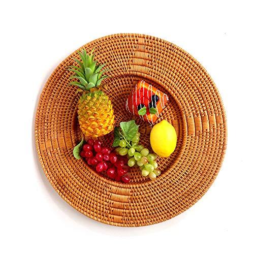 Canasta De Frutas De RatáN Tejida A Mano, Canasta De Pan De Mimbre Natural, Utilizada Para Alimentos De Pan De Frutas Bandeja De Almacenamiento De Picnic Al Aire Libre Para El Hogar
