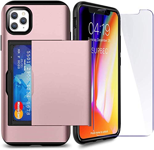 SUPBEC Compatible for iPhone 11 Pro Max Case with Card Holder and[ Screen Protector Tempered Glass x2Pcs][ Protective Series] Shockproof Silicone for iPhone 11 ProMax Wallet Case Cover-Rose Gold-6.5""