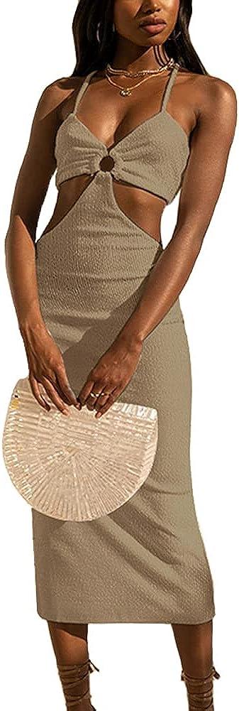Superior Antopmen Women Spaghetti Straps Knitted Elegant Maxi Dresses Max 41% OFF Sex