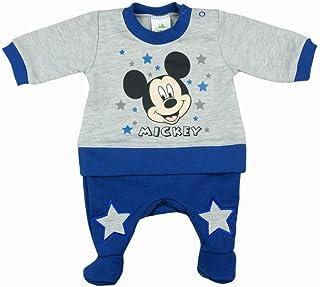 Kleines Kleid Jungen Mickey Mouse Baby-Strampler WARM ÄRMELLOS, LANG-ARM, mit FUß GRÖSSE 56, 62, 68, 74, 80 Disney Einteiler Outfit Schlafanzug