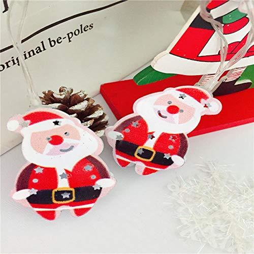 Juranting Led-lichtsnoer met kerstman, eland-alpaca, lantaarn, kerstversiering, 10 lampjes, kerstman, 200 cm