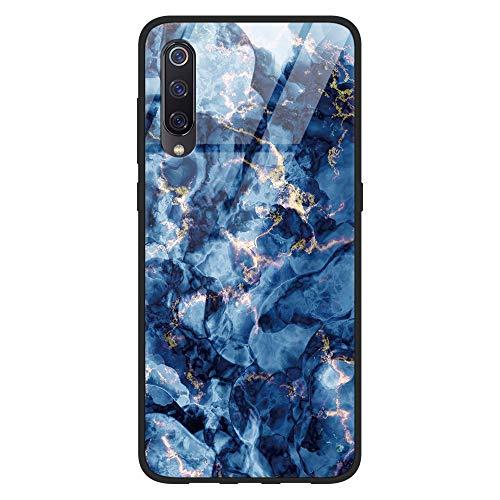 Yoedge Hülle für Xiaomi Mi 9, Stoßfest Hybrid Schutzhülle [TPU Silikon + Glas Rückseite] Glashülle mit Muster Motiv Handyhülle Kratzfeste Glas Case Cover für Xiaomi Mi 9 2019 6,39', Rock