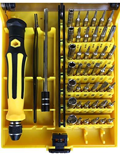 Juego de mini destornilladores magnéticos, para reparaciones de precisión con diversas puntas adecuadas para teléfono móvil, portátil, PC, gafas, relojes y mucho más (45 piezas) (amarillo/negro)