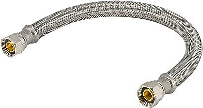 """Eastman Conector de torneira de aço inoxidável trançado 48073, componente de 3/8"""", comprimento de 30 cm, prata"""